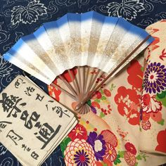 Etsy のVintage Japanese Sensu/ Folding Fan/ Hand Fun/ Odori Sensu/ Kimono Accessories/ Blue/ Gold/ 1950s(ショップ名:JapaneseBOROshop)
