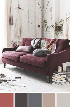 marsala, interior, colour scheme pink velour couch