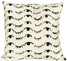 """wink wink pillow  22"""" x 22""""  *** Note: In an effort to make internationalshipping rates reasonable, all  non-USorders will include only the pillow cover, and no insert. We  apologize for the inconvenience.***"""
