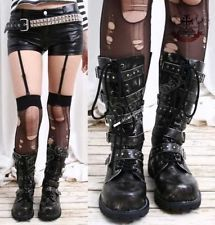 Visual Kei/Gothic/CYBER 5-strap BOOT 6/6.5 ASH BLACK 35