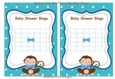 Monkey Little Man Baby Shower Bingo Blank Cards Gift Game Monkey Baby Shower Boy Bingo Gift Game -Instant Download Blue Polka Dot Blue Bows #monkeybabyshower #littlemanbabyshower #babyshowergiftbingo #boybabyshowergames #diybabyshower