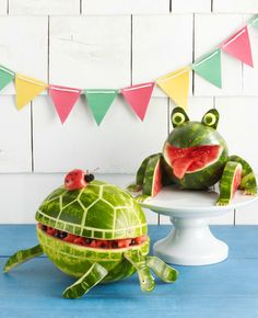 Keep watermelon fresh all day by making a turtle, their shell will keep the watermelon cool for a few hours. To add an extra touch make a frog to keep them company!