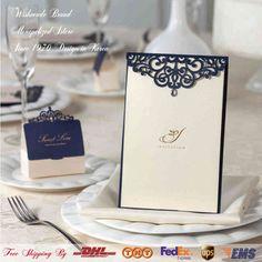 Wishmade marca bronceadores azul invitaciones de boda tarjetas dorado con el sobre sello menú imprimible y adaptable de venta al por mayor CM502