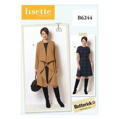 Butterick B6244 Misses' & Women's Coat & Dress