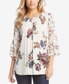 Karen Kane Printed Tiered-Sleeve Top - White XL