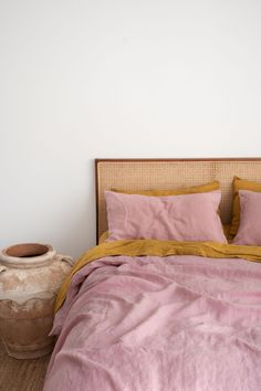 Nothing beats Mustard & wildflower Pink Pure French Flax Linen Bedding! Sourced from France and delivered direct to your door. Nothing beats Mustard & wildflower Pink Pure French Flax Linen Bedding! Sourced from France and delivered direct to your door. Bedroom Inspo, Home Decor Bedroom, Living Room Decor, Master Bedroom, Villa Design, Home Design, Interior Design, Interior Colors, Interior Plants