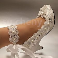 White ivory low / high heel lace bow crystal pearl Wedding shoes bride size 5-12