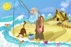 Animal Stories - The Fisherman And The Little Fish English Stories For Kids, Moral Stories For Kids, Short Stories For Kids, True Stories, Animal Story Books, Kids Story Books, Pictures Of Ants, Picture Story For Kids, Bell The Cat