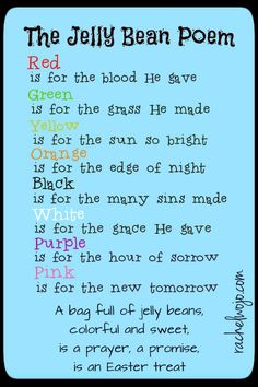 Jelly Bean Poem and Printable #easter #gospel