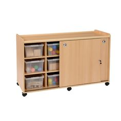 Storage Unit with Sliding Doors - 12 Clear Tubs - This storage unit with doors and clear plastic tubs is part of a range that sets the standard in terms of quality, safety and design and as far as practicality eliminates any protruding corners, whilst further enhancing the usability of the items by creating recessed unit top play areas making this range the perfect classroom furniture range.
