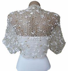 Knit Gold  White Bolero Shrug Sleeves, Wrap Jacket, Wedding Bolero, Weddings, Bridal, Women, For her on Etsy, $52.00