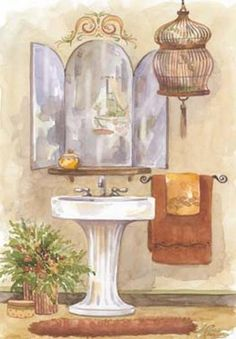 Watercolor Bath In Spice I Art Print Poster by Jerianne Van Dijk Online On Sale at Wall Art Store – Posters-Print.com