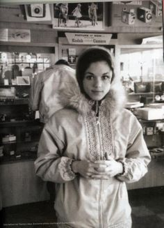 Edie Sedgwick all bundled up in the prettiest parka i ever did see.