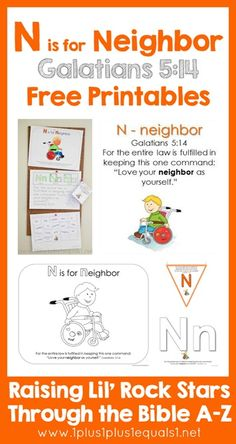 Free Bible Printables ~ Letter N is for Neighbor {Raising Lil Rock Stars}