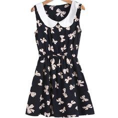 Black Contrast Collar Butterfly Print Slim Dress | pariscoming