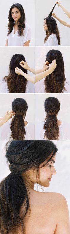 Beauty tips, step by step low ponytail tutorial.