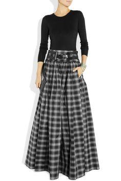 Michael Kors | Taos plaid silk-blend taffeta maxi skirt | NET-A-PORTER.COM