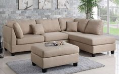 3 pc Ivy bronx vita martinique sand polyfiber fabric sectional sofa reversible chaise and ottoman. This set includes the 2 pc reversible chaise sectional sofa throw pillows and ottoman. This sectional is in polyfiber faux linen material on the cushions an 3 Piece Sectional Sofa, Fabric Sectional, Leather Sectional Sofas, Sofa Couch, Modern Sectional, Chaise Sofa, Sofa Set, Beige Sectional, Small Sectional