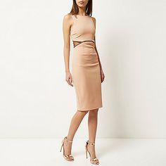 Beige embellished cut-out bodycon dress - bodycon dresses - dresses - women
