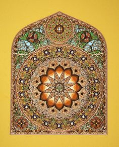 Paper artist Eric Standley cuts and layers paper to construct these sculptural pieces that look like stained glass windows.