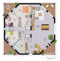 Nice Plan Maison Octogonale that you must know, You?re in good company if you?re looking for Plan Maison Octogonale Round House Plans, Dream House Plans, Small House Plans, House Floor Plans, The Plan, How To Plan, Sims House Design, Modern House Design, Casa Octagonal