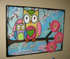 original 12 x 9 Mama and baby Owl mixed media by CreationsbyGena, $30.00