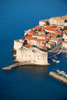 Arial view of Dubrovnik old town,  Croatia