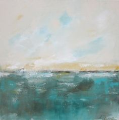 Linda Donahue-Abstract Seascape Ocean Original Art-  Lakeview with Yellow