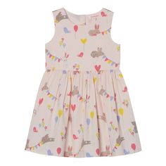 This cute dress from bluezoo is the perfect piece for parties. In a classic design with a cinched in waist and floaty skirt, it is detailed with a pretty all over bunny and bunting print, finished with button fastenings at the back.