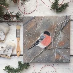 Купить Снегирь. Масло - снегирь, зима, Снег, картина маслом, картина в подарок, снегирь маслом