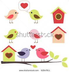 stock vector : Birds in love vector set