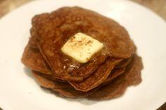 """From the site: """"I made these Paleo Pumpkin pancakes yesterday morning, and they were ridiculously delicious. They're made with eggs and pumpkin and they're so light and fluffy, you wouldn't believe there's no flour in them!"""""""