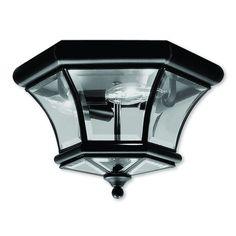 Livex Lighting Monterey/Georgetown Black 3-light Ceiling Mount (Black), Gold (Brass)