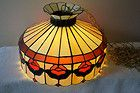 For Sale - Antique TIFFANY-style STAINED GLASS CHANDELIER LAMP Swag Light