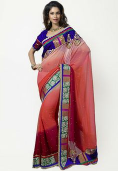 Triveni Sarees Embroidered Pink Saree