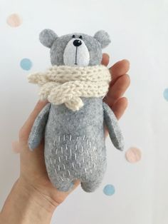Stuffed Bear In Knitted Scarf Felt Bear Felted Miniature Animals Felt Animals Teddy Bear Toy Miniature Bear Woodland Plushie Sewing Toys, Sewing Crafts, Sewing Projects, Fabric Toys, Felt Fabric, Bear Felt, Pet Organization, Teddy Bear Toys, Felt Toys