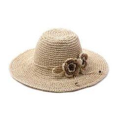 Summer UV straw sun hats for women flower design handmade #HatsForWomenHandmade