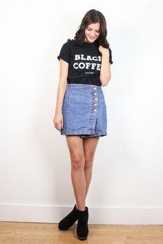 Vintage 90s Mini Skirt Denim Skirt Asymmetric Button Side High Slit Blue 1990s Jean Skirt Bongo Denim Soft Grunge Wrap Skort Look M Medium 9 #vintage #etsy #1990s #90s #soft #grunge #bongo #denim #jean #mini #skirt
