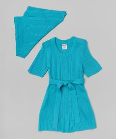 Loving this Teal Ribbed Sweater Dress & Tube Scarf - Toddler & Girls on #zulily! #zulilyfinds