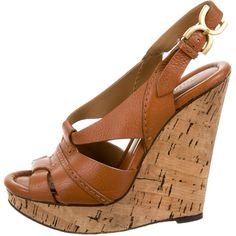 Pre-owned Chlo? Leather Cork Wedges ($145) ❤ liked on Polyvore featuring shoes, sandals, brown leather sandals, leather shoes, brown leather shoes, peep toe slingback and brown wedge sandals