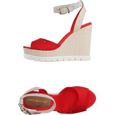 Tommy Hilfiger Sandals (370 RON) ❤ liked on Polyvore featuring shoes, sandals, red, ankle wrap wedge sandals, red wedge sandals, red shoes, wedge heel sandals and buckle sandals