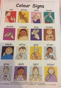 A sign language is a complete and comprehensive language of its own. It is not just some gestures which are random and used to convey a meaning. Sign language also has a set of grammar rules to go by. This language is mainly used by p Sign Language Colors, Simple Sign Language, Sign Language Chart, Sign Language Phrases, Sign Language Alphabet, Sign Language Interpreter, British Sign Language, Learn Sign Language, Learn Asl Online