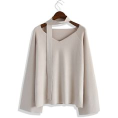 Chicwish Soft Bell Sleeves V-neck Sweater in Pink (€48) ❤ liked on Polyvore featuring tops, sweaters, pink, brown tops, v-neck tops, v neck tops, drop shoulder sweater and brown sweater