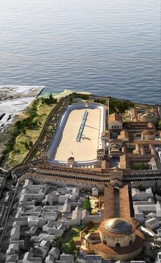 Aerial view of the Imperial Complex of Galerius at Thessaloniki from a northern vantage point. Byzantine Architecture, Roman Architecture, Chinese Architecture, Historical Architecture, Fantasy City, Fantasy Castle, Ancient Rome, Ancient History, Roman Pictures