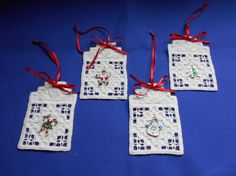 Christmas ornaments with charms - stitchin fingers Hardanger Embroidery, Hand Embroidery, Norwegian Food, Needlework, Cross Stitch, Gift Wrapping, Christmas Ornaments, Sewing, Fingers