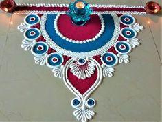 Very Simple and Easy Rangoli Designs for Deepawali Easy Rangoli Designs Diwali, Rangoli Simple, Indian Rangoli Designs, Simple Rangoli Designs Images, Rangoli Designs Latest, Rangoli Designs Flower, Free Hand Rangoli Design, Rangoli Border Designs, Small Rangoli Design