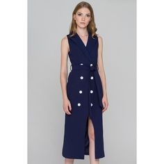 Blue and White Button Sleeveless Midi Blazer Dress ($84) ❤ liked on Polyvore featuring dresses, no sleeve dress, sleeveless midi dress, blazer dress, midi day dresses and midi dress