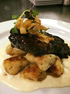 Come out for Restaurant Week, February 21-27th.  Poppycocks has this Stout braised venison brisket with espresso glaze on beer gnocchi wiht aged gouda cream, topped with fried leeks. It would be rock star with 2 Lads Cabernet Franc!
