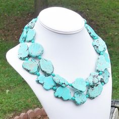 Vander II - Long Chunky Sea Green Turquoise Freeform Gemstone Beaded Necklace - Inspired By Gossip Girl - SINGLE or DOUBLE Strand. $245.00, via Etsy.