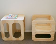 Montessori Cube Chair Set 2 small cubes by NaturaBaby on Etsy